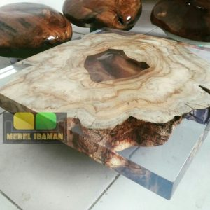 meja kopi resin kayu natural