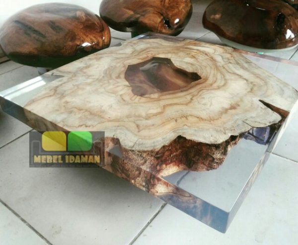 meja kopi resin kayu natural