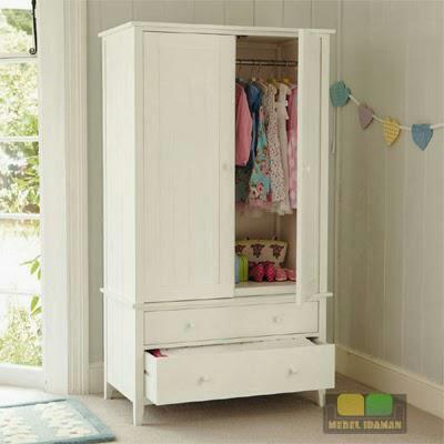 Lemari pakaian Minimalis Retro Pintu 2 Laci 2 Putih Duco