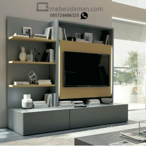 Panel TV dan rak hias minimalis abu